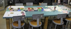 The fused glass work table